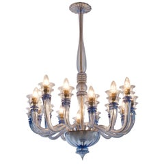 Early Blue Murano Chandelier by Venini, circa 1930
