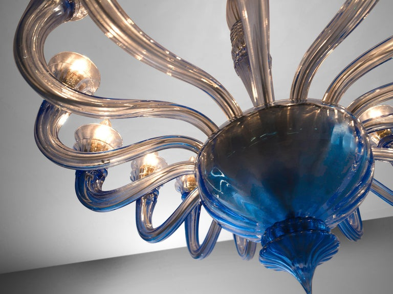 Art Deco Early Blue Murano Chandelier by Venini For Sale