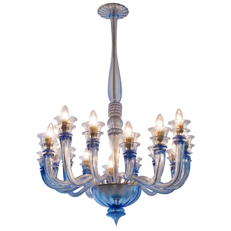 20th Century Early Blue Murano Chandelier by Venini For Sale