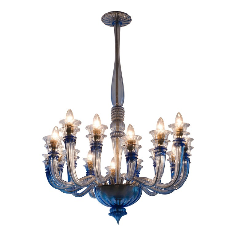 Early Blue Murano Chandelier by Venini For Sale