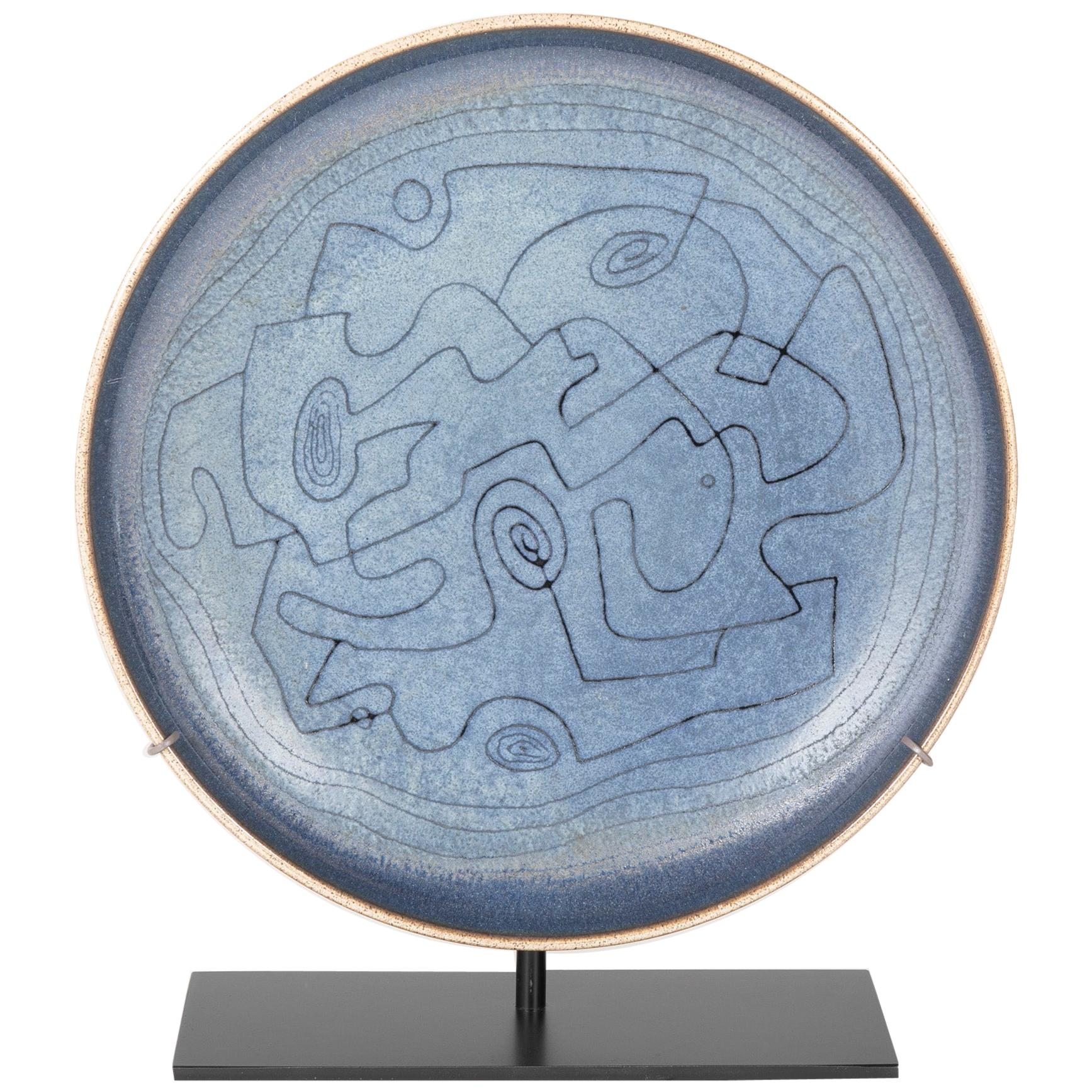 Early Blue Stoneware Charger by Edwin & Mary Scheier