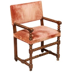 Early Bobbin Turned Walnut Armchair