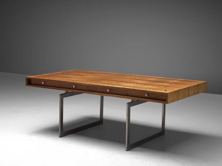 Mid-Century Modern Early Bodil Kjaer Executive Rosewood Writing Table and Cabinet For Sale