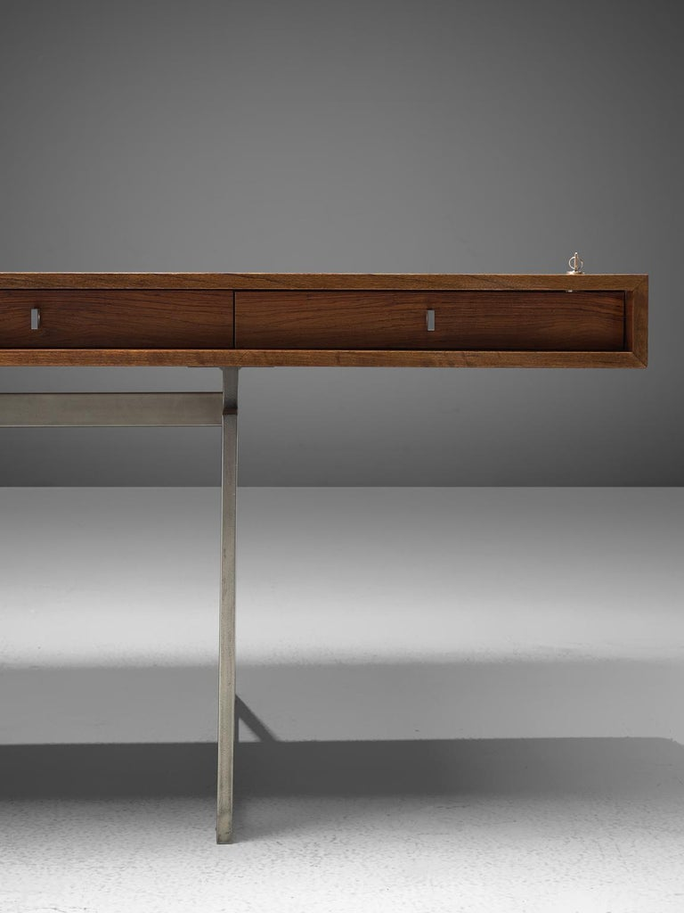 Early Bodil Kjaer Executive Rosewood Writing Table and Cabinet In Good Condition For Sale In Waalwijk, NL