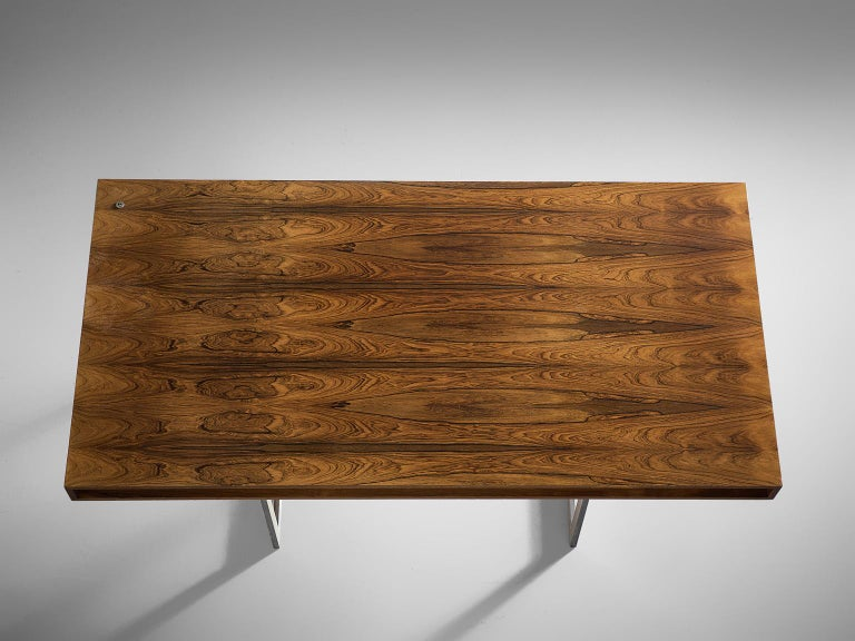 Early Bodil Kjaer Executive Rosewood Writing Table and Cabinet For Sale 1