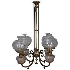 Early Brass Kerosene 4-Light Gas Chandelier, circa 1870