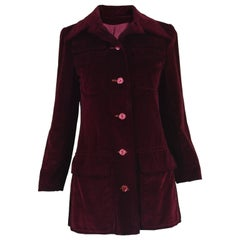 Early Calvin Klein Vintage 1970s Dark Red Velvet Dagger Collar Mod Jacket