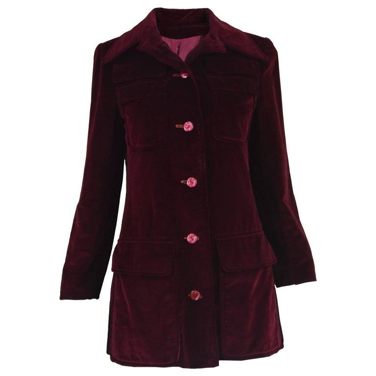 Early Calvin Klein Vintage 1970s Dark Red Velvet Dagger Collar Mod Jacket