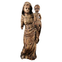 Early Carved Lime Wood Madonna & Child Statue, 20th Century
