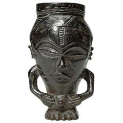 Early Carved Wood Tribal Kuba Figural Cup, Congo, Africa Deep Dark Patina