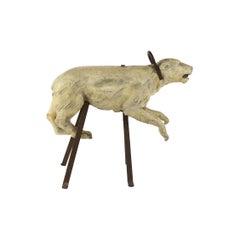Early Carved Wooden Carousel Polar Bear by Bernard Van Guyse, Belgium, 1920s