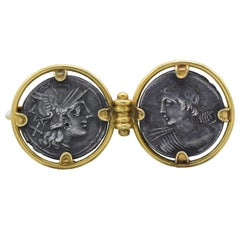 Early Castellani Coin and 18 Karat Gold Brooch Pin