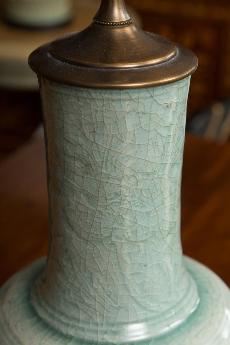 Chinese Export Early Celadon Vase as a Table Lamp For Sale