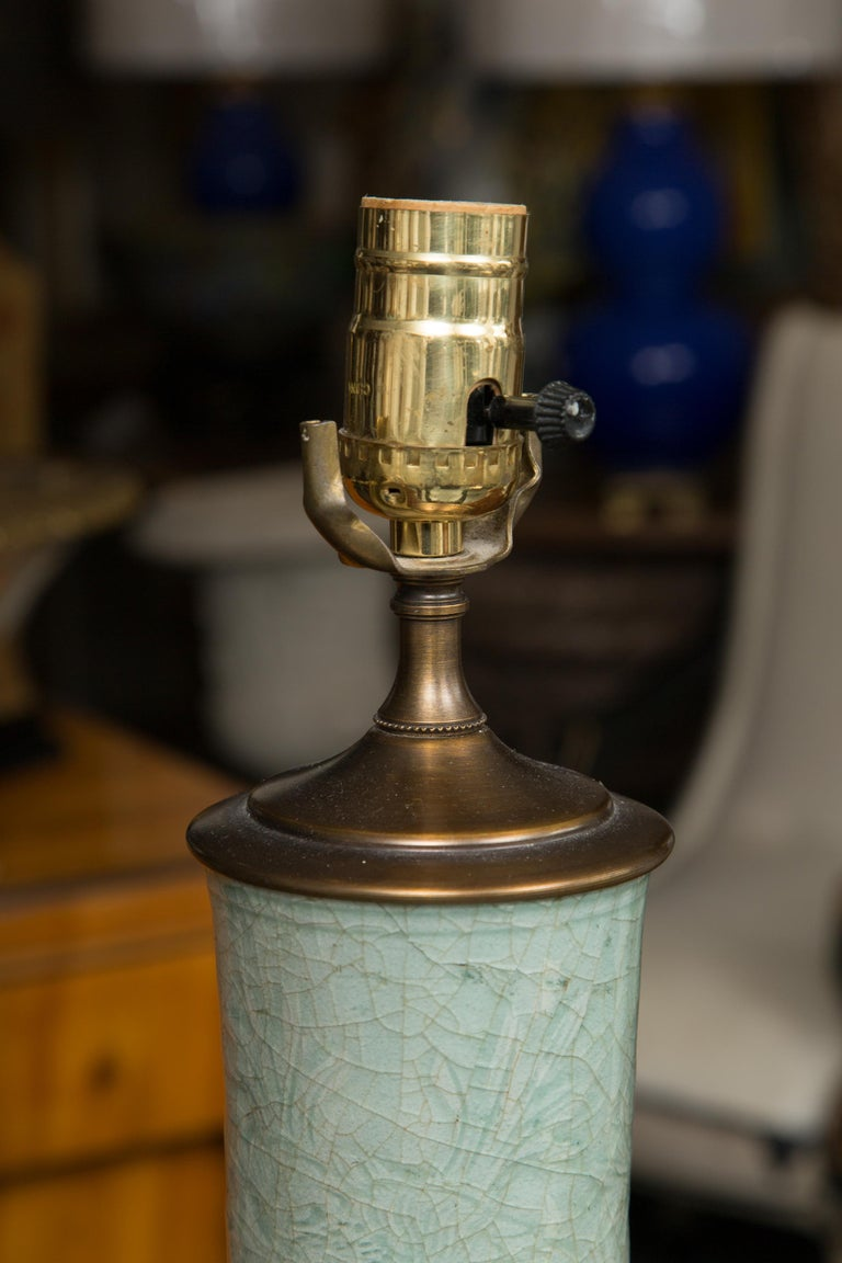 Chinese Early Celadon Vase as a Table Lamp For Sale