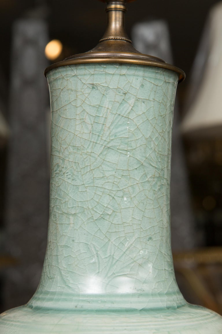 Hand-Crafted Early Celadon Vase as a Table Lamp For Sale