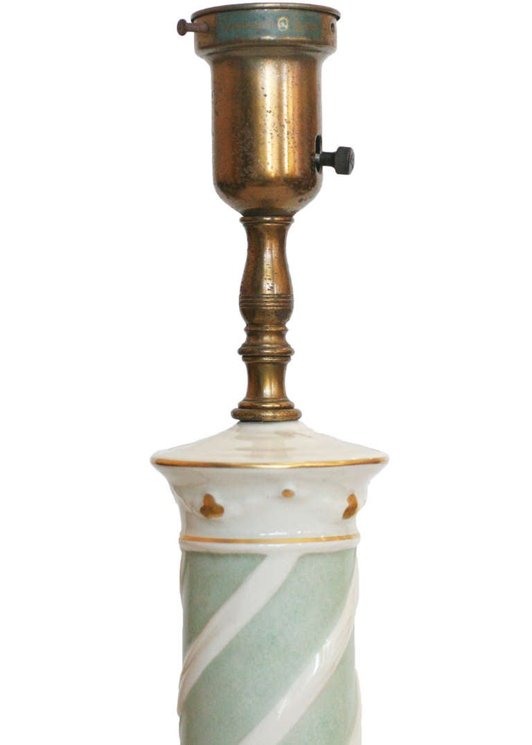 Early Ceramic Regency Lamp by Rembrandt Light Company In Good Condition For Sale In Van Nuys, CA