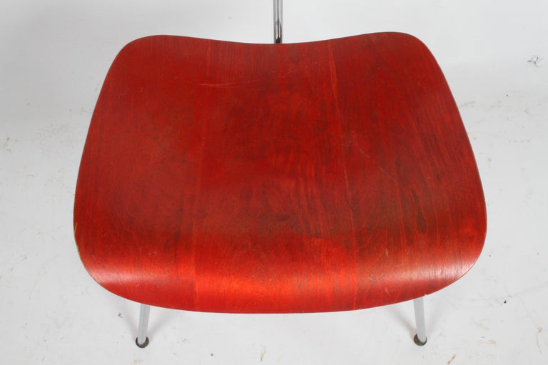 Early Charles Eames for Herman Miller Red Aniline DCM For Sale 4