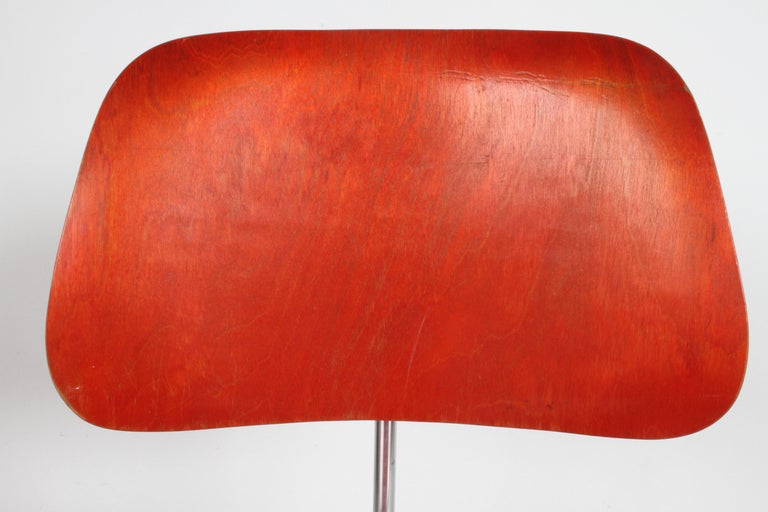 Early Charles Eames for Herman Miller Red Aniline DCM For Sale 6