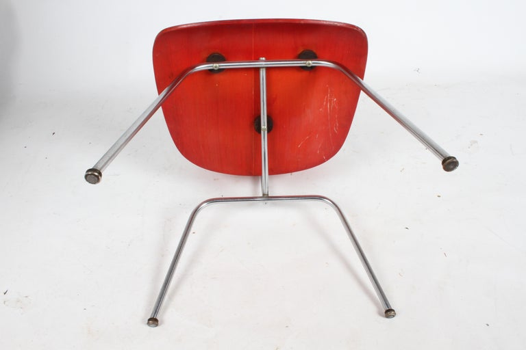 Early Charles Eames for Herman Miller Red Aniline DCM For Sale 11
