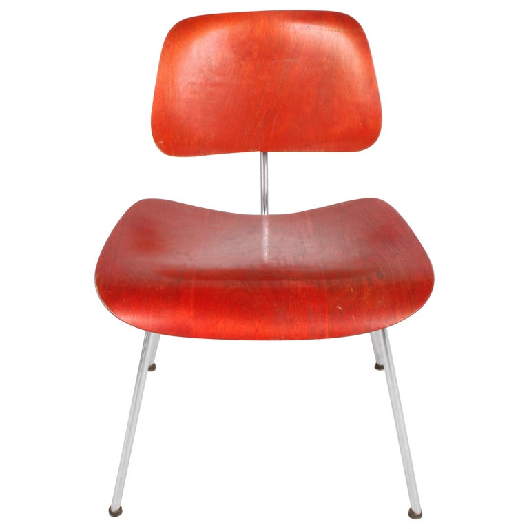Early Charles Eames for Herman Miller Red Aniline DCM For Sale