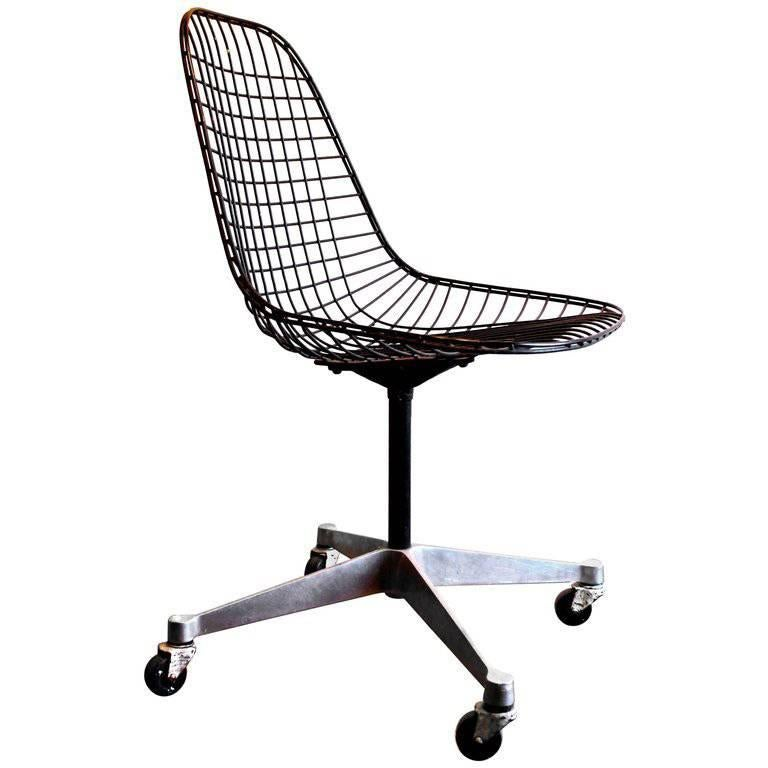 Early Charles Eames PKC Wire Rolling Task Chair Herman Miller For Sale