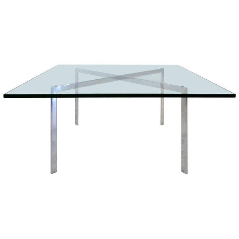 Early Chrome and Glass Coffee Table by Mies Van Der Rohe for Knoll, circa 1968