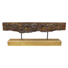 Early Continental Giltwood Fragment on Custom Stand, Poss., 16th-17th Century