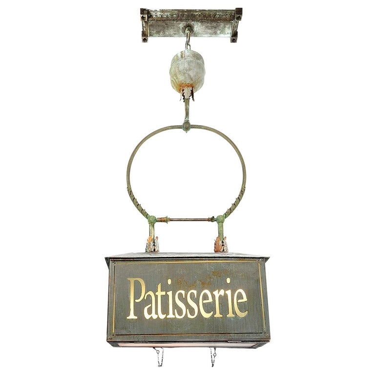 Early Converted Gravity-Fed Hanging Patisserie Advertising Chandelier For Sale