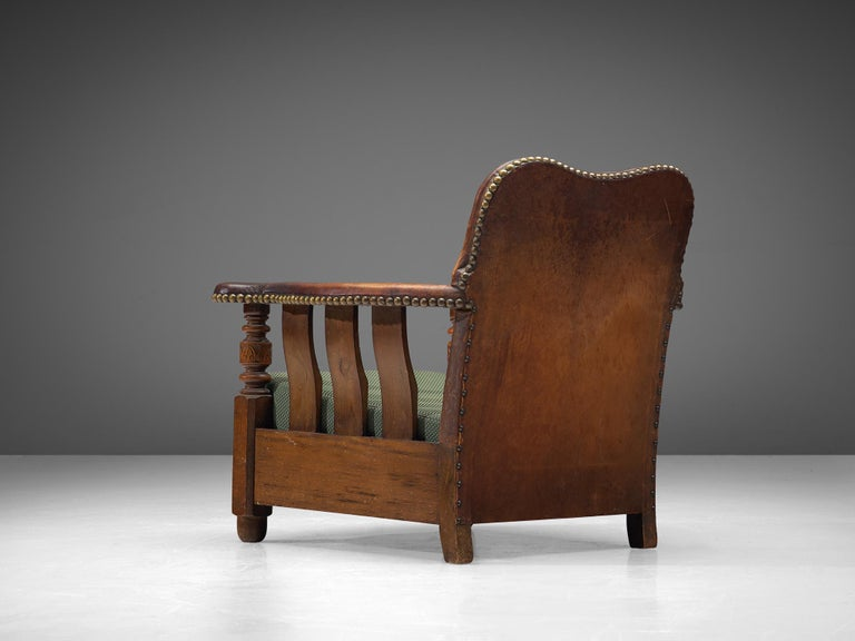 Early Danish Armchair with Patinated Leather In Good Condition For Sale In Waalwijk, NL