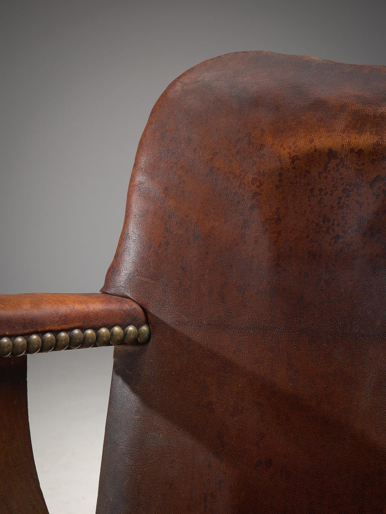 Early Danish Armchair with Patinated Leather For Sale 2