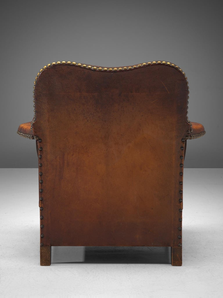 Early Danish Armchair with Patinated Leather For Sale 3