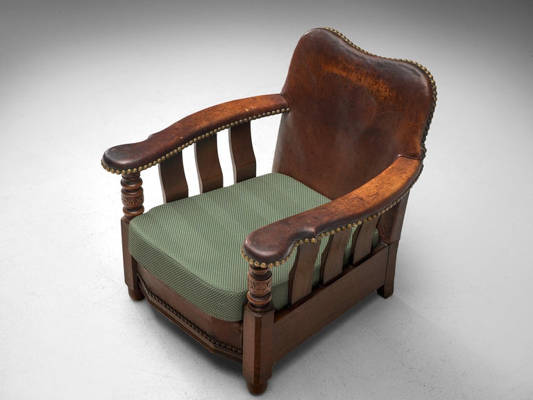 Early Danish Armchair with Patinated Leather For Sale 4