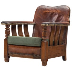 Early Danish Armchair with Patinated Leather