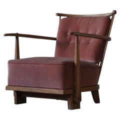 Early Danish Mid-Century Easy Chair in Oak by Fritz Hansen, Model 1590, 1940s