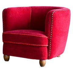 Early Danish Midcentury Low Curved Club Chair with Studs in Red Velvet