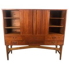 "Early Danish Modern ""High"" Cabinet / Storage, Teak and Beechwood, Tambour Doors"