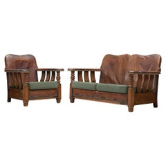 Early Danish Settee Sofa and Lounge Chair with Patinated Leather