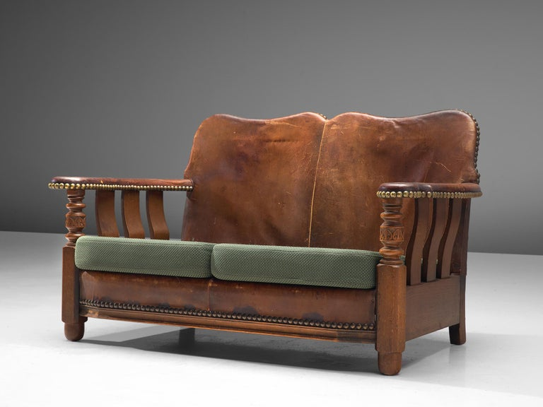 Settee sofa, wood, leather and fabric, Denmark, 1920s.