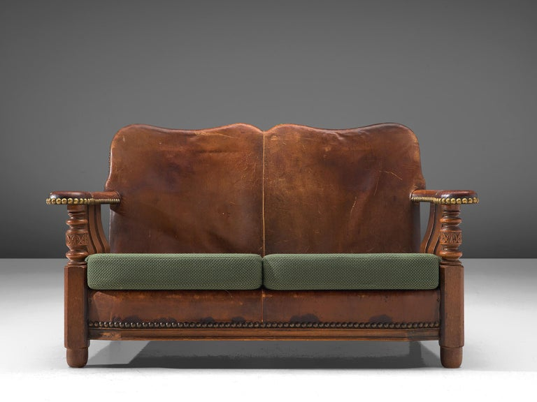 Mid-Century Modern Early Danish Settee Sofa with Patinated Leather For Sale