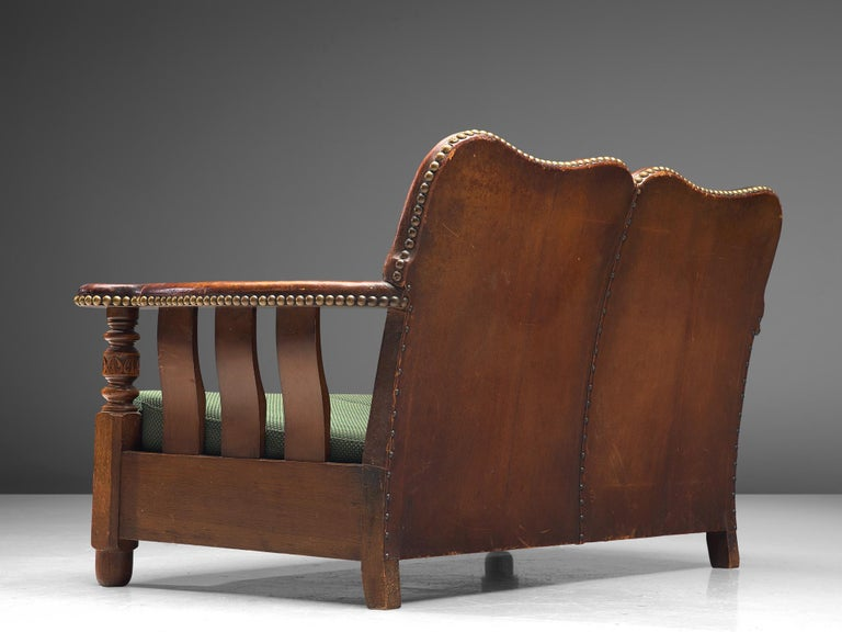 Early Danish Settee Sofa with Patinated Leather In Good Condition For Sale In Waalwijk, NL