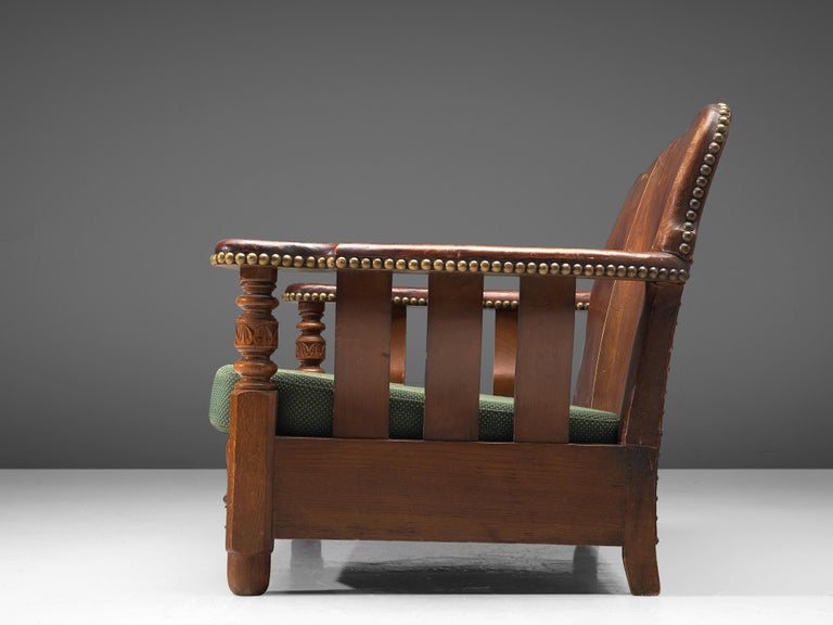 Early 20th Century Early Danish Settee Sofa with Patinated Leather For Sale