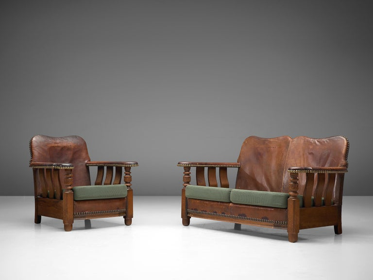 Early Danish Settee Sofa with Patinated Leather For Sale 3