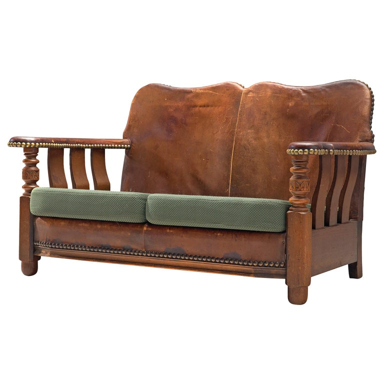 Early Danish Settee Sofa with Patinated Leather For Sale