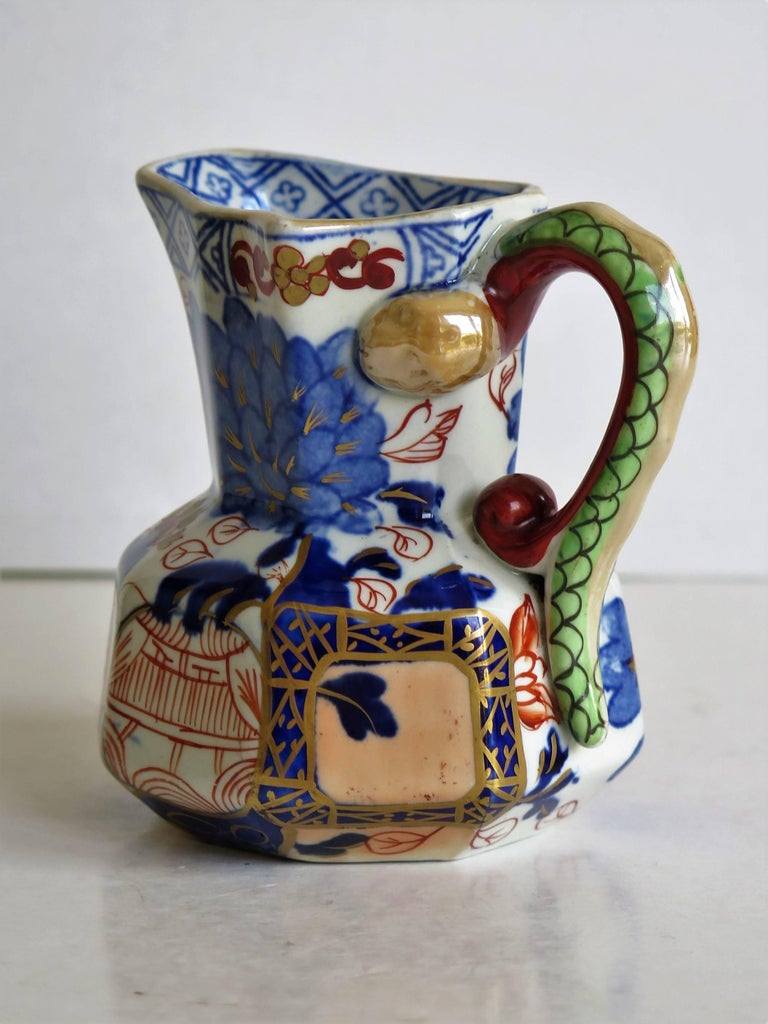 Hand-Painted Early Davenport Ironstone Small Hydra Jug Jardiniere Pattern, English circa 1815 For Sale