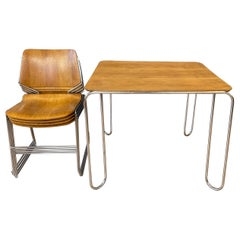 David Rowland Oak 40/4 Stacking Chairs and Unusual Table, Five-Piece Set