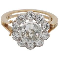 Early Deco 1.60 Carat Centre Diamond 1.50 Carat Diamond Plus Cluster Ring