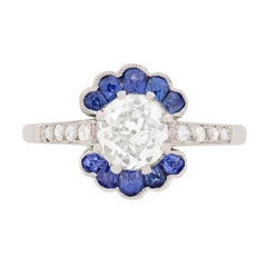 Early Deco Diamond and Sapphire Cluster Ring, circa 1920s