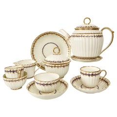 Early Derby Porcelain Breakfast Tea Set, White and Gilt, George III, 1782-1800