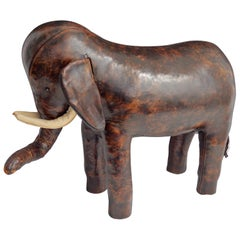 Early Dimitri Omersa for Saks Fifth Avenue Leather Elephant Footstool
