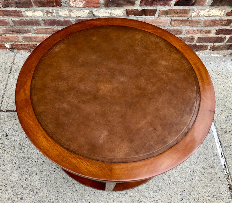 Leather Early Dunbar Cocktail Table For Sale
